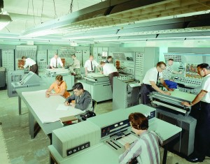 Analog computer equipment in the old Space Flight Operations control center, 1960 CREDIT: Courtesy NASA/JPL-Caltech)